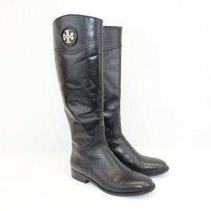 Tory Burch Black Ashlynn Leather Riding Boots